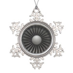 Find unique ornaments, like this jet engine turban fan snowflake Christmas ornament for your tree this year.