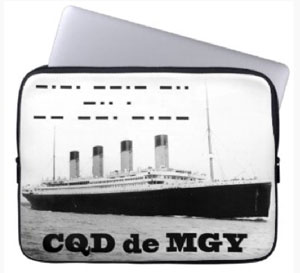 CDQ de MGY Titanic Distress Call Laptop Sleeve. Get one for yourself now.