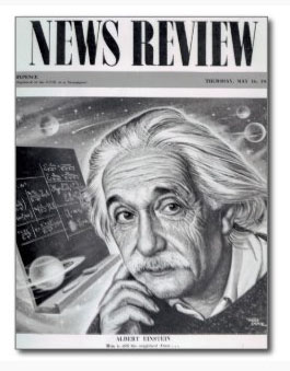 Albert Einstein on cover of News Review as a postcard. Get your copy now.