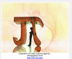 Illustration of a Boy Leaning Against Pi. Get a copy for yourself.