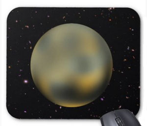 Pluto Starry Sky Mousepad. Find this and other Pluto themed gifts here.