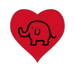 Red elephant heart stickers. Get yours now...