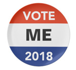 Personalized campaign buttons and materials for 2018 elections.